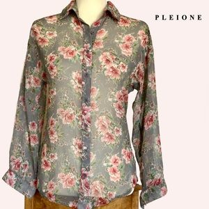 Pleione Sheer Floral Long Sleeve Button down Top